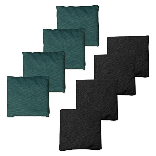 Weather Resistant Cornhole Bean Bags Set of 8 - Hunter Green & (Black Hunters Point)