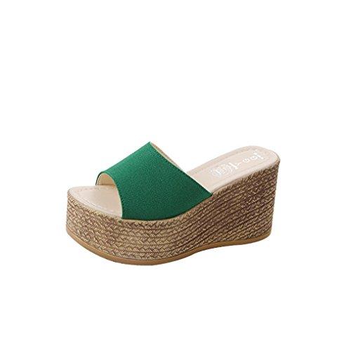 Medio Verde Elegant Con Gioiello Donna A Pantofole Tacco Sandali Eleganti Zeppa Scarpe Liuchehd Estive xFOKzRqwRX