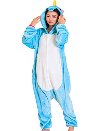 Unicorn Adult Onesie Pajamas, Onesies for Women Animal Cosplay Halloween Costume (Halloween Soft Costumes)