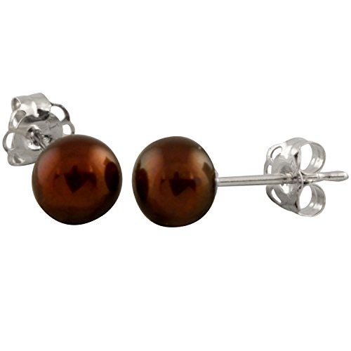 14K Chocolate Gold Handpicked AAA Quality Button Chocolate Freshwater Cultured Pearl Stud Earrings Set for Women (Gold Earrings For Baby Girl In Indian)