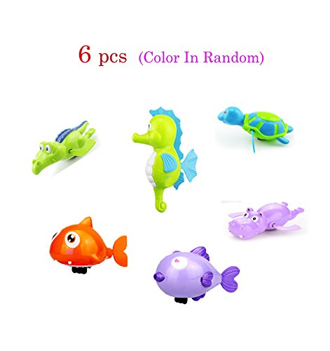 6 pcs Baby Bath Toy Wind-Up Bathing Swimming Shower Toy Clockwork,Sea Horse,Kiss Fish,Shark,Turtule,Hippo,Crocodile Fun Water Toy Sets Random Color