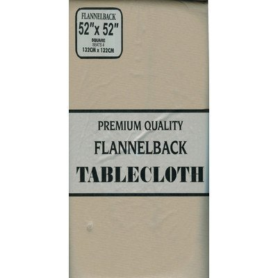 Carnation Home Fashions Vinyl Tablecloth with Polyester Flannel Backing, 52, 70-Inch, Black