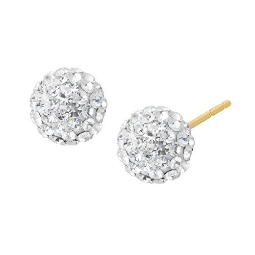 Crystaluxe Glitter Ball Stud Earrings with Swarovski Crystals in 14K Gold (Real Stud Ball Earrings Swarovski)