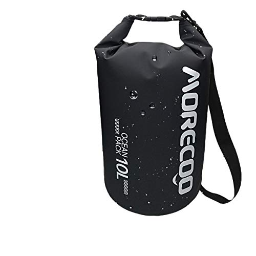 MORECOO Waterproof Bag Floating Ultra Light Dry Bag Outdoor Sports Sweatproof Dry Backpack 5L/10L for Kayaking/Rafting/Boating/Swimming/Camping/Hiking/Beach/Fishing (Black, 10L)