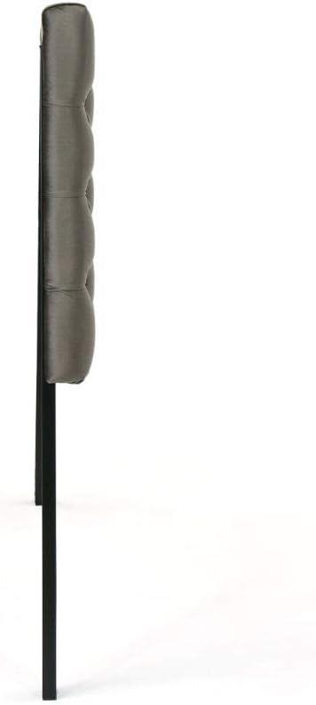 Christopher Knight Home 303581 Jezebel Velvet Queen//Full Headboard Grey//Black Steel