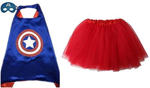 Superhero or Princess TUTU, CAPE, MASK SET COSTUME - Kids Childrens Halloween (Captain America - Blue & (Captain America Toddler Girl Costume)