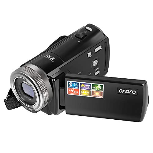 Camera Camcorder, ORDRO Portable 720P Video Camera Recorder for YouTube or Vlog 16MP Digital Camera DV Video Camcorder with a 16GB SD Card and 2 Batteries (HDV-108 Black)