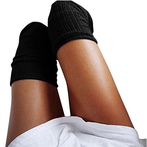 Damen Winter Halterlose Strümpfe Transer® Wärmer Häkeln Sock Knie-Lange Baumwollmischung Kniestrümpfe mit Spitze 74 cm (Schwarz)