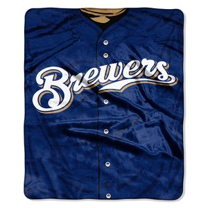 Milwaukee Brewers Bedding - MLB Milwaukee Brewers Jersey Plush Raschel Throw, 50