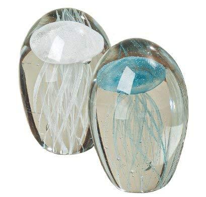 Lote de 2 Pisapapeles de Cristal Objeto Decorativo Medusas Surtido Altura 10 cm Cristal de Colores Blanco//Azul