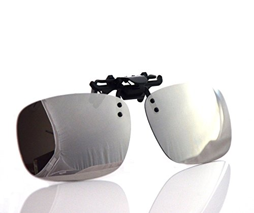 Besgoods Cool Siver Mirror Polarized Clip-on Flip up Plastic Sunglasses Lenses Glasses Outdoor Driving Fishing - Sunglasses Clip On Flip Polarized Up Plastic