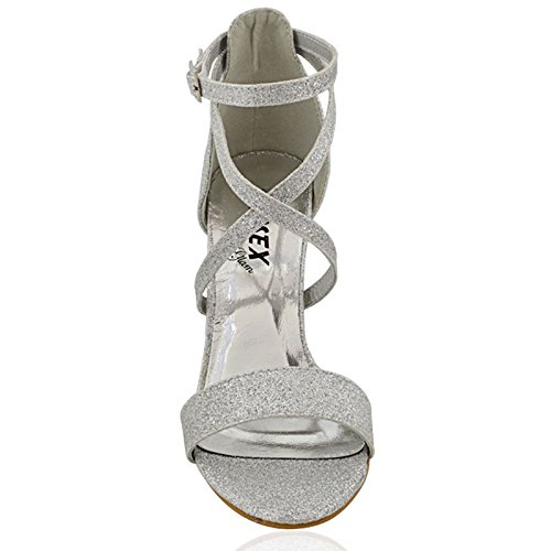 ESSEX Tacco a alla Blocco Fibbia Festa GLAM Glitter Sandalo Argento Caviglia Donna Cinturino RwaRqrY