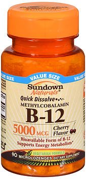 Sundown Naturals Quick Dissolve Methylcobalamin B-12 Microlozenges Cherry Flavor - 90 ct, Pack of 6 by Sundown Naturals