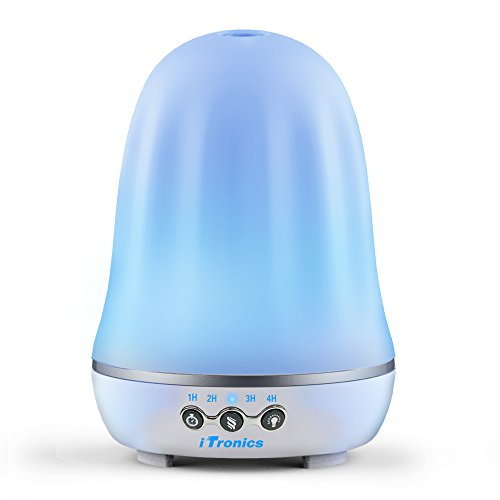 iTronics IT01 Aromatherapy Essential Oil Diffuser Ultrasonic Diffuser Cool Mist Humidifier with Waterless Auto Shut-Off and 7 Colors LED Lights for Home Office Bedroom