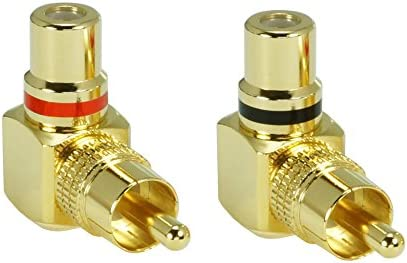 2 Audio Cinch Adapter Buchse abgewinkelte Winkeladapter in Premium Qualität