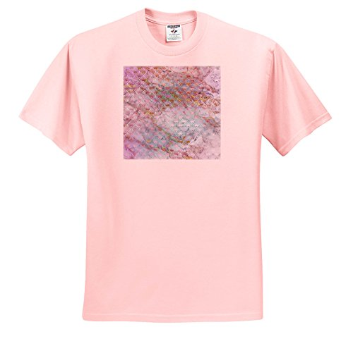 (3dRose Anne Marie Baugh - Patterns - Pink Diamond Fan Over Gold and Blue Marble Effect - T-Shirts - Toddler Light-Pink-T-Shirt (3T) (ts_283232_48))
