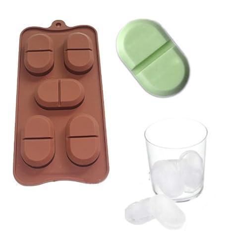 X-Haibei Chill Pill jabón Ice Cube bandeja Chocolate Candy molde de silicona 5-cavity: Amazon.es: Juguetes y juegos