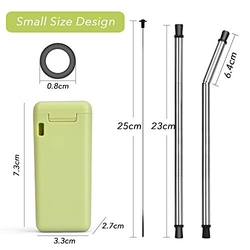 Collapsible Straw Reusable Stainless Steel, Folding Drinking Straws Keychain Foldable Final Premium Food-grade Portable Set with Hard Case Holder Cleaning Brush for Travel, Household, Outdoor-Green by Hydream (Image #2)