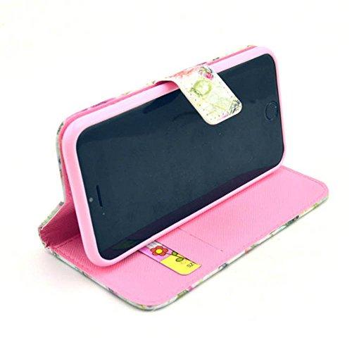 Blume Eiffelturm Pink Flip Cover Leder Tasche Case Schutzhülle für Apple iPhone 6 Plus (5.5 Zoll) Hülle Handy Tasche Etui Schale mit Standfunktion Kredit Kartenfächer
