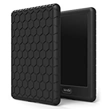 "MoKo Case for Kindle E-reader (8th Generation 2016) - [Honey Comb Series] Light Weight Shock Proof Soft Silicone Back Cover for Amazon Kindle (6"" Display, 8th Gen 2016 Release), BLACK"
