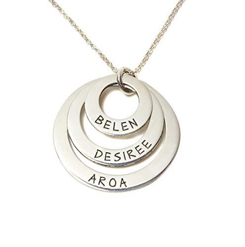 2d2bb69f468e Collar tres aros con nombres en plata de ley 925 Personalizado ENVÍO GRATIS