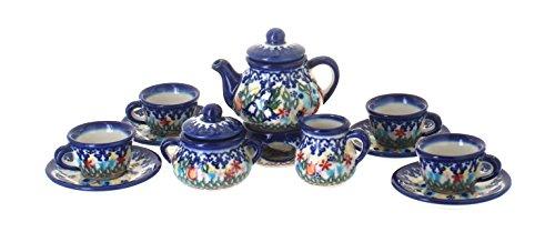 Polish Pottery Garden of Eden Miniature Tea Set (Polish Pottery Miniature Tea Set)