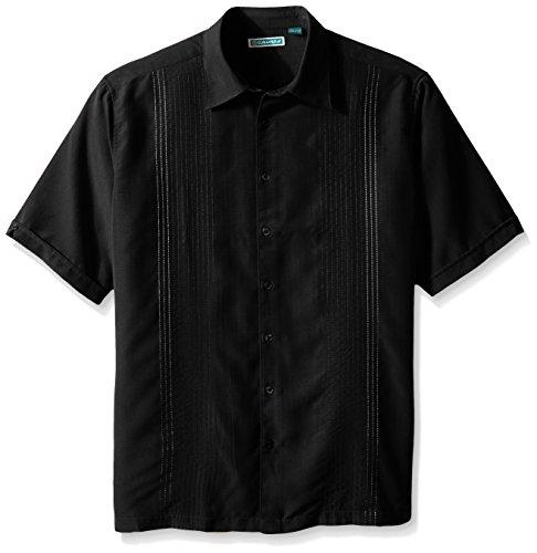 Vertical Woven Shirt Stripe (Cubavera Men's Big-Tall Short Sleeve Textured Ombre Embroidery Woven Shirt, Jet Black, 3X-Large/Tall)