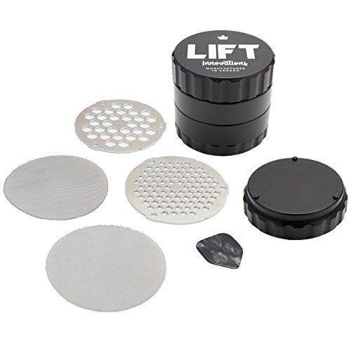 LIFT Innovations 4 Piece BLACK Customizable Naturopathic Herb Grinder, with ALL ACCESSORIES. fine, medium and coarse sifting discs and fine, medium and coarse pollen screen