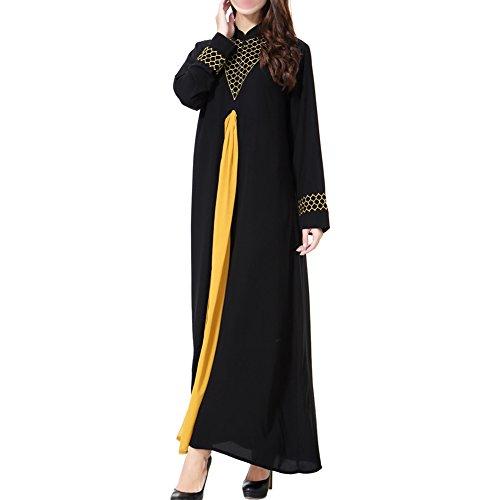 islámico Vestido Apparel Manga Hzjundasi noche Suelto Medio Kaftan Boda larga Maxi Ayustar Cóctel Oro Mujer Abaya Dubai Musulmán Oriente TH901 Turquía de Vestido Robe PqwfYF