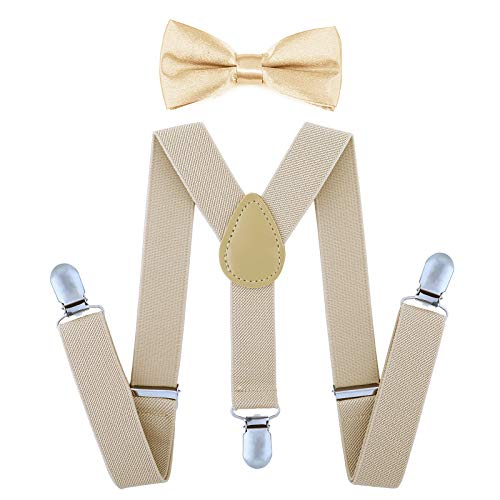 AWAYTR Child Kids Suspenders Bowtie Set - Adjustable Suspender Set for Boys and Girls(25Inches (5 Months to 6 Years ),Khaki)