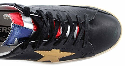 Golden Goose Scarpe Sneakers Uomo Superstar Black Leather Special Flag Pelle New