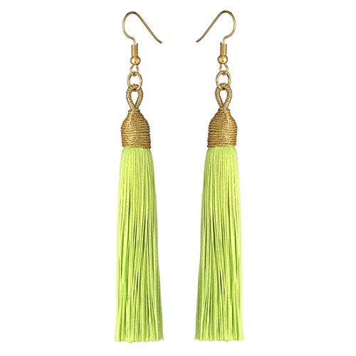 Boho Thread Long Tassel Dangle Drop Fringe Earrings Silk Fabric Vintage Charms Eardrop (Fluorescent Green)