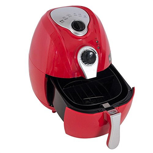 Eight24hours Electric Air Fryer w/ Temperature Control Detachable Basket & Carry Handle Red