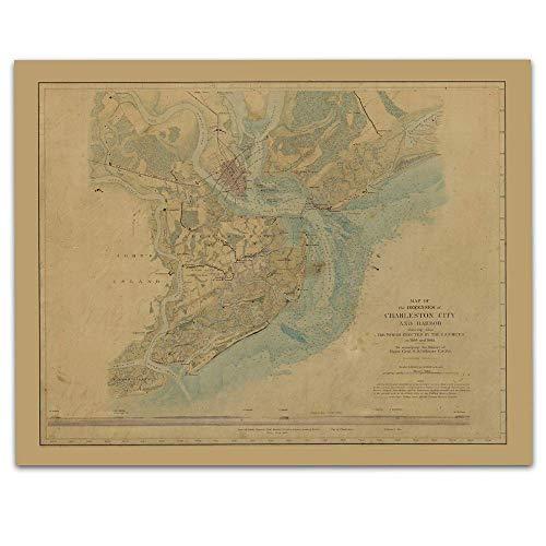 Charleston South Carolina Vintage Map Circa 1865-11 x 14 Unframed Print - Great Housewarming Gift. Charleston Themed Office Decor.