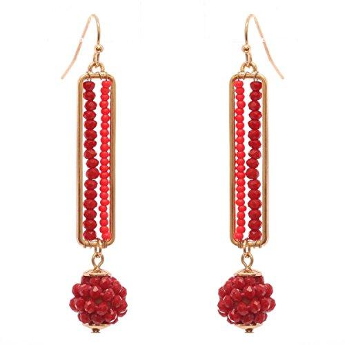Women's Glass Bead Bar and Ball Dangle Pierced Earrings, Burgundy/Gold-Tone -
