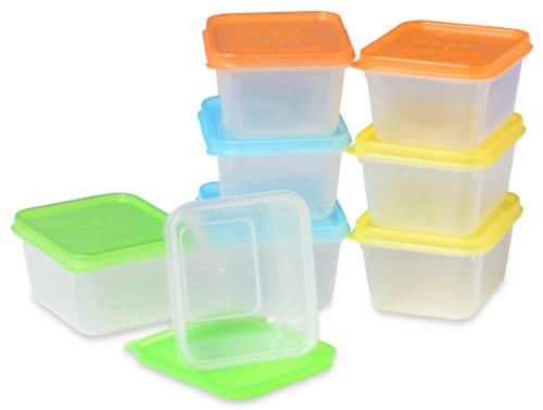 EasyLunchboxes Mini Dippers Small Dip, Condiment, or Sauce Containers, Leak-Resistant, Set of 8]()
