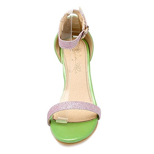 SJJH Sandals with Kitten Heel and Large Size Women Beautiful Dressy Shoes with Bling Materail for Wedding Party Green 8LSZU