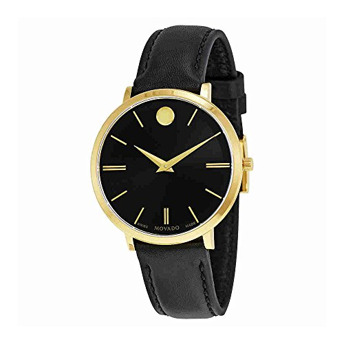 Movado Ultra Slim Black Sunray Dial Ladies Watch 0607091