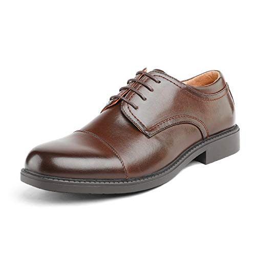 Bruno Marc Men's Downing-01 Dark Brown Leather Lined Dress Oxfords Shoes Size 10 M ()