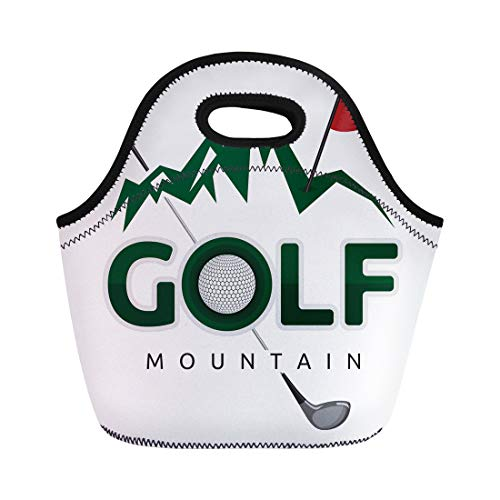Semtomn Neoprene Lunch Tote Bag Ball Golf Mountain Cartoon Challenge Clip Clipart Closeup Club Reusable Cooler Bags Insulated Thermal Picnic Handbag for Travel,School,Outdoors, Work