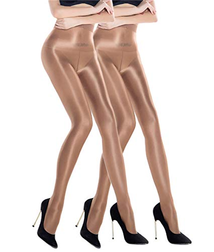 2 Pairs Shaping Socks Oil Socks Shiny Silk Stockings Pantyhose Dance Tights (Champagne 2)