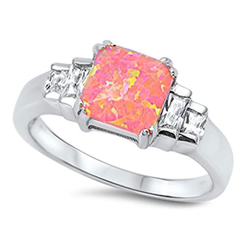 Clear CZ Pink Simulated Opal Square Classic Ring .925 Sterling Silver Band Size 9