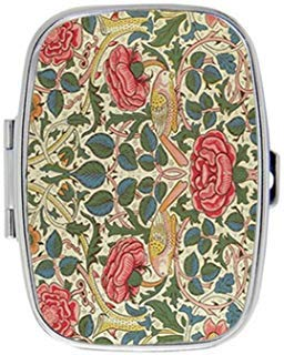 Rose by William Morris Custom Fashion Style Rectangle Pill Box Silver Jewelry Box,Coin Purse