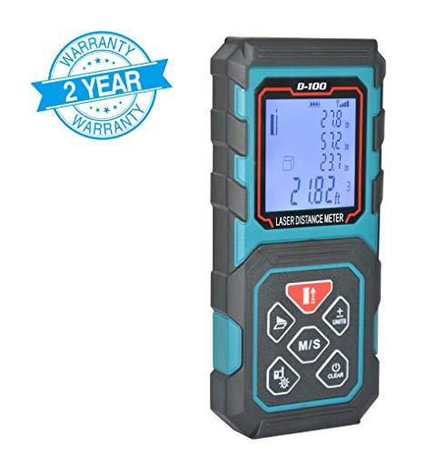 MAKINGTEC Laser Measure 328Ft M/In/Ft Laser Distance Meter,5 Measurement Modes, Pythagorean Mode ,LCD Backlight Display, Volume , Area Measurement, Digital Laser Tape Measure D100 Color Blue ... ...