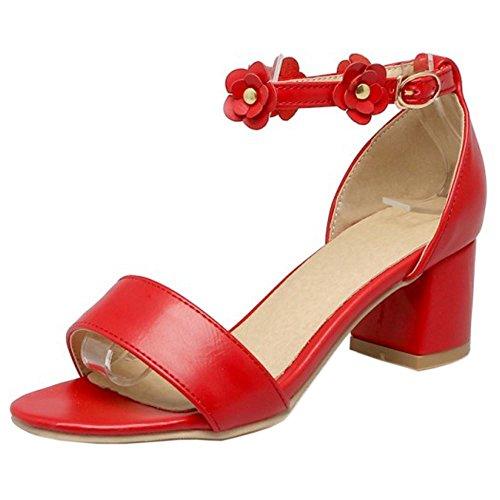 FANIMILA Mujer Moda Ankle Strap Sandalias Punta Abierta Tacon Ancho Zapatos Flors Rojo