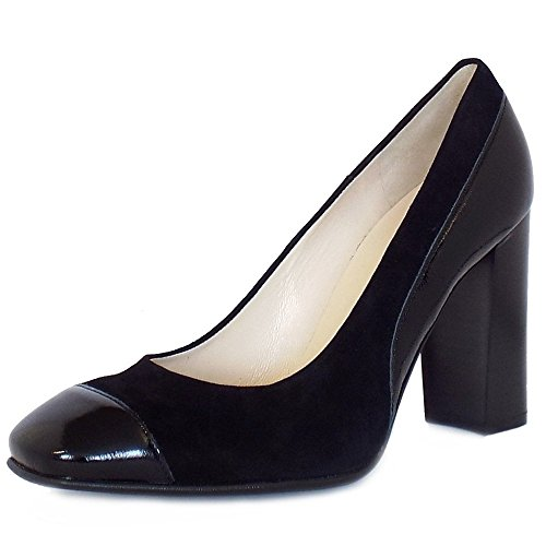 Peter Kaiser Sorana High Block Heel Court Shoes In Black Patent And Suede Black