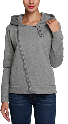 Grigio Womens Top Jacket Fashion Zipper con Plus Yogly Felpa manica cappuccio Felpe Size UVqSMzp