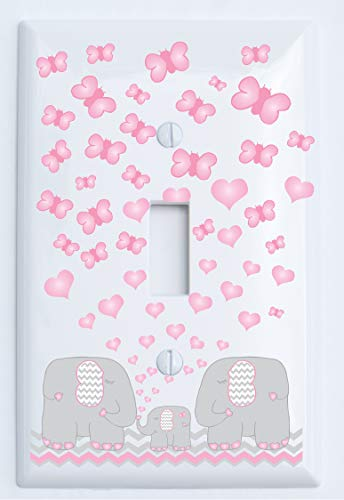 (Pink Elephant Light Switch Plate Covers/Mom, Dad and Baby Elephant Nursery Decor with Grey and Pink Chevrons with Pink Hearts and Butterflies (Single Toggle Mom, Dad Baby))