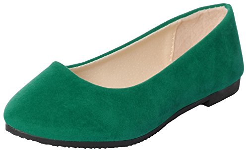 IF FEEL Women's Casual Pointy Toe Comfortable Slip On Suede Ballerina Flats Shoes (9.5 B(M) US, Green) Pastel Ballet Shoes