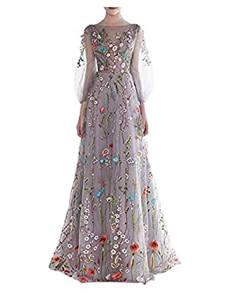 Fancy-Bridal Women's Zipper Back Floral Embroidery Long Sleeves Evening Dresses